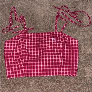 Red plaid crop top